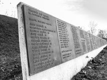 PRAGUE, CZECH REPUBLIC - DECEMBER 9, 2017: List of victims in former Kobylisy Shooting Range, Prague, Czech Republic. Place of mass executions during WWII by Stock Photo