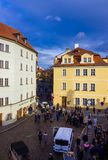 Prague, Czech Republic - December 31, 2017: The people going near houses of old architecture in Old Town. At Prague, Czech Republic - December 31, 2017 Stock Photography