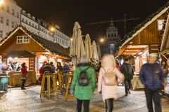 2017 - People and tourists visiting the christmas markets at the Wenceslas square in Prague Royalty Free Stock Photo