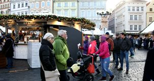 Christmas market at Old Town Square in Prague stock video
