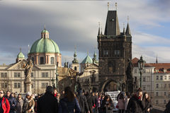 PRAGUE, CZECH REPUBLIC - DECEMBER 23, 2015: Photo of At the Charles Bridge. Royalty Free Stock Photography