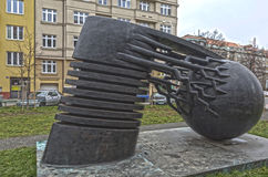 PRAGUE, CZECH REPUBLIC - DECEMBER 20, 2015: Photo of Monument physicist Nikola Tesla. Stock Images