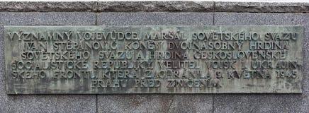 PRAGUE, CZECH REPUBLIC - DECEMBER 20, 2015: Photo of Monument to Ivan Konev. Stock Image