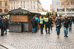 Prague, Czech Republic - December 24, 2016: The police presence at Christmas on the squares. Police patrolled the Stock Photo