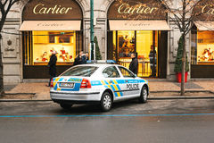 Prague, Czech Republic - December 25, 2016 - The police on the streets. Patrol car on Christmas day in Prague Stock Image