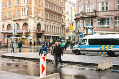 Prague, Czech Republic - December 25, 2016 - The police on the streets. Patrol car on Christmas day in Prague Royalty Free Stock Photography