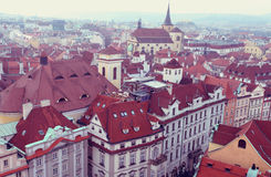 Prague, Czech Republic - December 27 in Prague from a high point of view. The roofs of red tile Royalty Free Stock Images