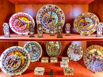 Prague, Czech Republic - December 31, 2017: Some Souvenir plates on bohemian fair. From porcelain at shop of Prague , Czech Republic on December 31, 2017 Stock Images