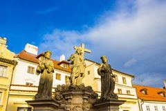 Prague, Czech Republic - December 31, 2017: Statue Of The Holy Savior with Cosmas And Damian royalty free stock photos