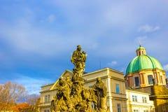 Prague, Czech Republic - December 31, 2017: Statues of Madonna and Saint Bernard Royalty Free Stock Photography