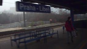 PRAGUE, CZECH REPUBLIC - DECEMBER 3, 2016. Train arriving at Praha-Liben railway station. 4K shot. PRAGUE, CZECH REPUBLIC - DECEMBER 3, 2016. Train arriving at stock video