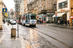 Prague, Czech Republic - December 24, 2016 -Tram public transport on the street. Daily life in the city. Everyday life. In Europe. Urban style of life Stock Images