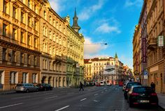 Typical city street and architecture of Prague. Royalty Free Stock Image