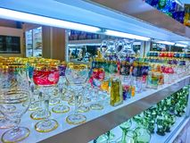 Prague, Czech Republic - December 31, 2017: Wine glasses of Bohemian glass in the shop, Prague, Czech Republic royalty free stock photos