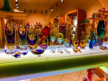 Prague, Czech Republic - December 31, 2017: Wine glasses of Bohemian glass in the shop, Prague, Czech Republic stock images