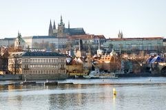 Prague, Czech Republic - panoramic view of the Castle and Vltava river Stock Photography