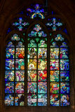 PRAGUE, CZECH REPUBLIC/EUROPE - SEPTEMBER 24 : Alphonse Mucha St. Ained glass window in St Vitus Cathedral in Prague on September 24, 2014 stock photo