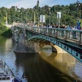 PRAGUE, CZECH REPUBLIC/EUROPE - SEPTEMBER 24 : Cechuv Bridge in. Prague Czech Republic on September 24, 2014.Unidentified people Royalty Free Stock Photos