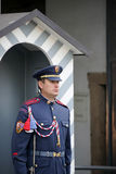 PRAGUE, CZECH REPUBLIC/EUROPE - SEPTEMBER 24 : Czech Republic so. Ldier guarding the entrance to the Castle area in Prague on September 24, 2014. Unidentified Stock Photo