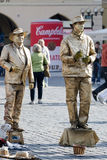 PRAGUE, CZECH REPUBLIC/EUROPE - SEPTEMBER 24 : Living statues in. The Old Town Square Prague on September 24, 2014. Unidentified people Stock Photography