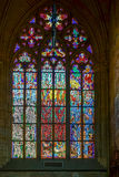 PRAGUE, CZECH REPUBLIC/EUROPE - SEPTEMBER 24 : Stained glass win. Dow in St Vitus Cathedral in Prague on September 24, 2014 Royalty Free Stock Photo