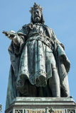 PRAGUE, CZECH REPUBLIC/EUROPE - SEPTEMBER 24 : Statue of King Ch. Arles IV at the entrance to the Charles Bridge in Prague on September 24, 2014 stock photography