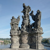 PRAGUE, CZECH REPUBLIC/EUROPE - SEPTEMBER 24 : Statue of Saints. Dominic and Thomas on Charles Bridge in Prague on September 24, 2014 royalty free stock photography
