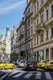 PRAGUE, CZECH REPUBLIC/EUROPE - SEPTEMBER 24 : View down Maiselo. Va street in Prague on September 24, 2014. Unidentified people Stock Photos