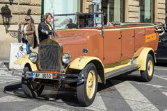 PRAGUE, CZECH REPUBLIC/EUROPE - SEPTEMBER 24 : Vintage vehicle t. Ours in Prague on September 24, 2014. Unidentified people Stock Photo