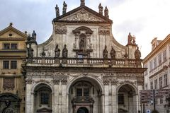 Prague, Czech Republic. Facade Of The Cathedral Of San Salvatore royalty free stock photography