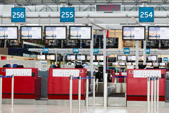 PRAGUE, CZECH REPUBLIC - February 10: Departures hall of Vaclav Havel Airport Prague on February 10,2016 Royalty Free Stock Photos