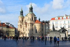 View of the Old Town Square and the church of the Church of St. Nicholas royalty free stock images
