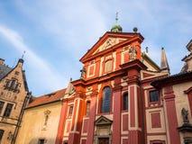 PRAGUE, CZECH REPUBLIC - FEBUARY 19, 2018 : St. George`s Basilica in Prague Castle front view of the main entrance in Prague, Czec stock photos
