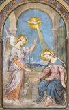 PRAGUE, CZECH REPUBLIC - 2018: The fresco of Annunciation in the church kostel Svatého Cyrila Metodeje by Petr Maixner royalty free stock image