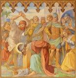 PRAGUE, CZECH REPUBLIC - 2018: The fresco decapitation of St. Paul in church Bazilika svatého Petra a Pavla na Vyšehrade royalty free stock photos