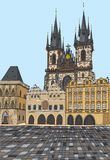 Prague, Czech Republic, hand drawn ink and painted watercolor imitation. Stock Photo