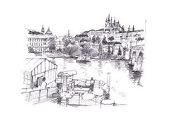 Prague, Czech Republic hand pencil drawing Royalty Free Stock Photo