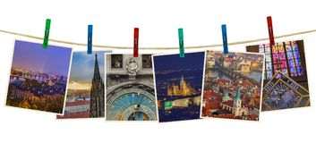 Prague in Czech republic images my photos on clothespins. Isolated on white background Stock Photo