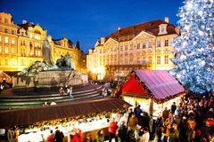 PRAGUE,CZECH REPUBLIC-JAN 05, 2013: Prague Christmas market Stock Photography