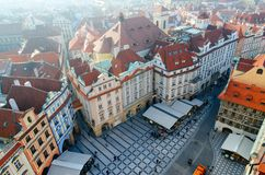 Beautiful top view of historical center of Prague Stare Mesto, Old Town Square, Czech Republic royalty free stock image