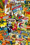 Colorful vintage comic magazine covers top view flat lay composition. PRAGUE, CZECH REPUBLIC - JANUARY 29: Colorful vintage comic magazine covers top view flat Royalty Free Stock Images