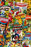 Colorful vintage comic magazine covers top view flat lay composition royalty free stock images