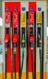 Prague, Czech Republic - January 2, 2018: Filling nozzles at a Shell gas station. Prague, Czech Republic - January 2, 2018: Filling nozzles at a Shell gas royalty free stock photo
