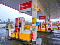 Prague, Czech Republic - January 2, 2018: Filling nozzles at a Shell gas station. Prague, Czech Republic - January 2, 2018: Filling nozzles at a Shell gas royalty free stock photography