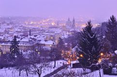 Lesser Town in winter Prague Czech Republic royalty free stock images