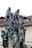 Prague, Czech Republic, January 2015. One of the sculptural compositions on the famous Charles Bridge. royalty free stock photography