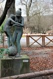 Prague, Czech Republic, January 2015. Sculpture of children playing the work of the famous Czech sculptor, installed in the zoo in. Sculpture of children playing royalty free stock image