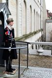 Prague, Czech Republic, January 2015. A soldier of the Czech Guard at the post of the royal palace. stock images