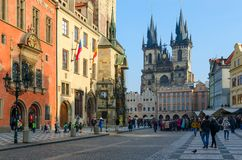 Old Town Square in Prague, Czech Republic. Town Hall, Tyn Church royalty free stock photography