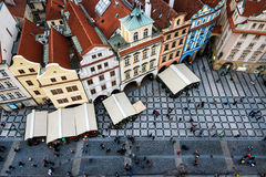 PRAGUE, CZECH REPUBLIC - JANUARY, 10: View over Staromestska square and red tiled roofs from top of Tower. Stock Photos